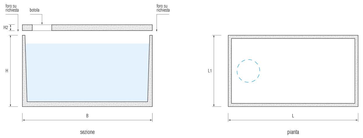 Vasca monolitica rettangolare da a litri - Vasca interrata ...